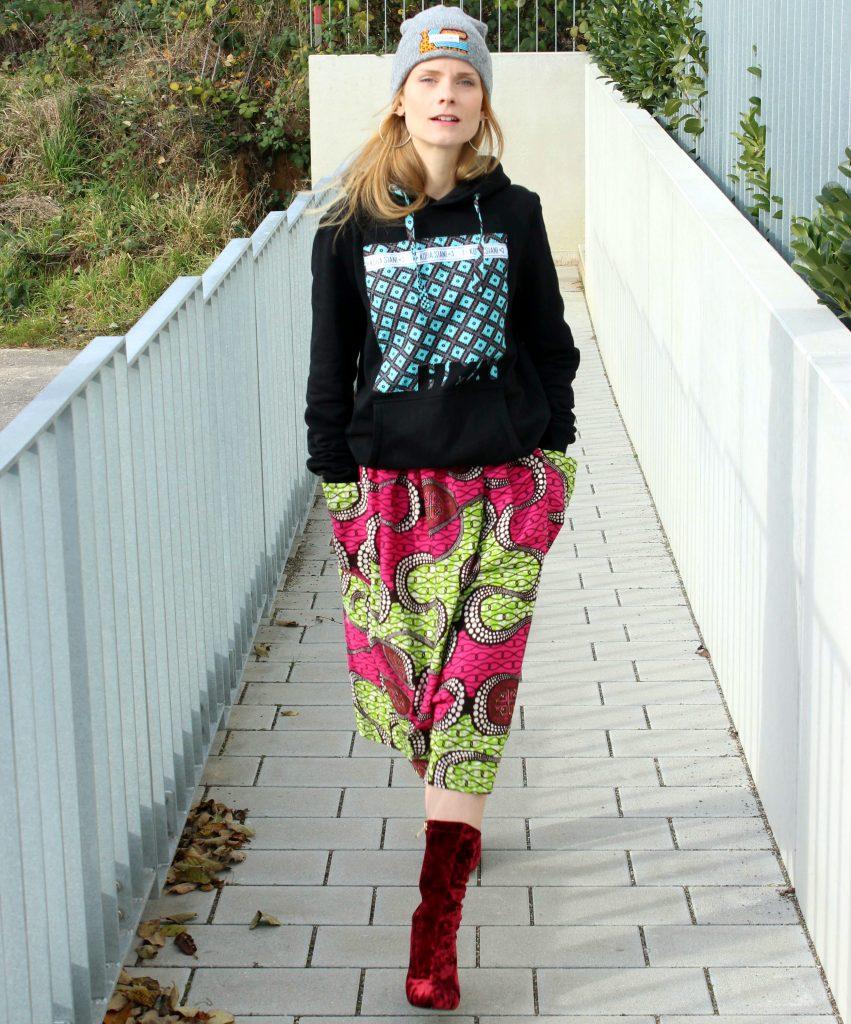 hoodie and midi skirt